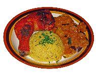 Plato de arroz con pollo tandori